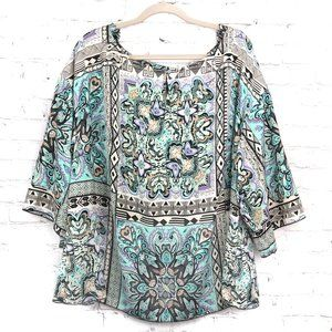 🍎Laundry by Shelli Segal Silky paisley Blouse